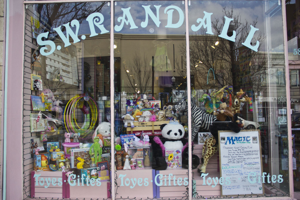 The storefront of S. W. Randall promises a wealth of colorful toys.  Photo by Alyssa Kramer