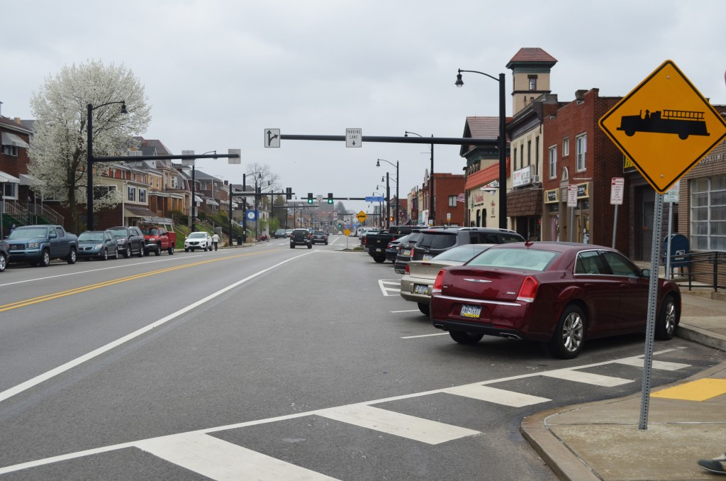 The Brookline Boulevard Revitalization Program allowed for smoother paved concrete and new head-in parking along the main street. Photo by Rebekah Devorak.