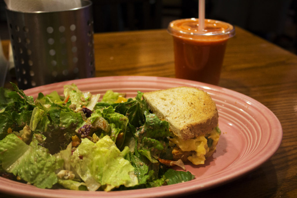 "A fruit and nut salad, mesquite turkey sandwich and ""Sunrise Suzy"" from Red Oak Cafe."