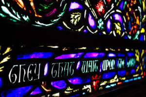The ornate stained glass windows in the chapel hold almost 250,000 pieces of glass in total.