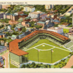 Public Domain Photo A vintage postcard illustration depicts Forbes Field in its heyday. The stadium operated in Oakland for 61 years, from 1909 to 1970.