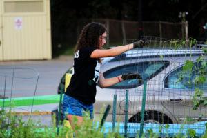Gabrielle Mueller works on a gardening fence in the garden.