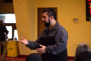 Imam Abdul Wajid gives a presentation to a group of visitors at a March 19, 2017 open house at Oakland's Islamic Center of Pittsburgh.